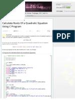 Calculate Roots of a Quadratic Equation Using C Program _ Coding Bot