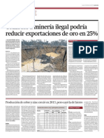 Combate a minería ilegal podría reducir exportaciones de oro en 25%
