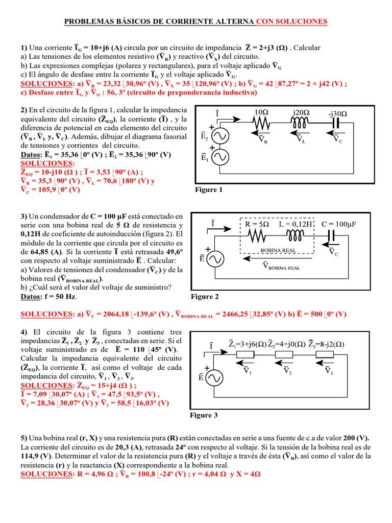 Circuito Z : Problemas basico corriente alterna soluciones