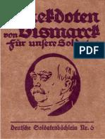 Anekdoten von Bismarck für unsere Soldaten - Deutsche Soldatenbüchlein Nr. 6 (1917)