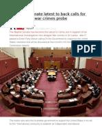 Australian Senate Latest to Back Calls for International War Crimes Probe