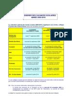 Calendrier Des Vacances Scolaires 2009-2010
