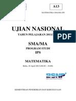 Matematika Sma Un 2012 Paket a Ips
