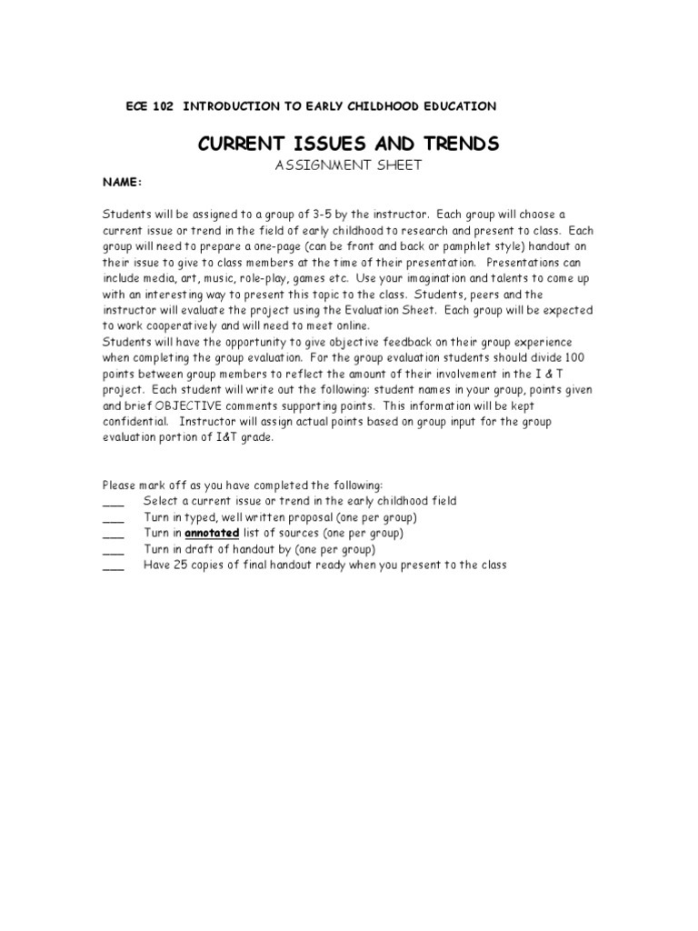 Issues And Trends Assignment Sheet Early Childhood Education