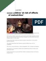 500 Childern Risked of Malnutrition