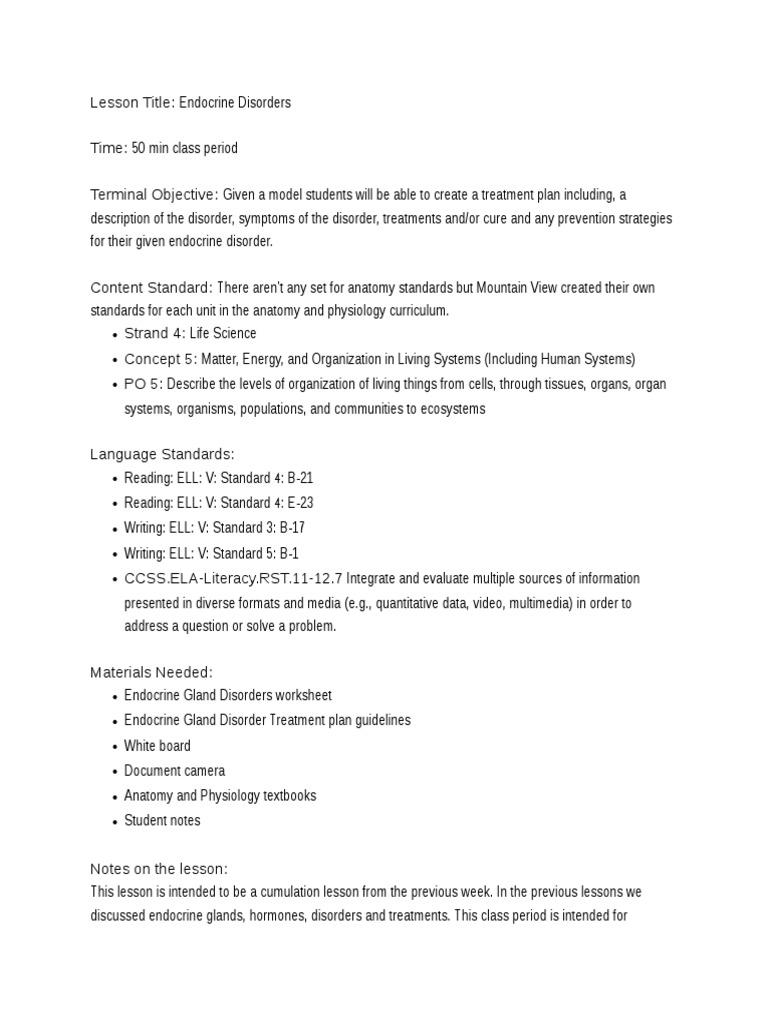 lesson plan   Endocrine System   Hormone