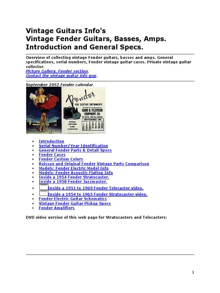 Fender Vintage Guitars Info Bass Guitar String Instruments Amp Repair Schematics Bassman Ab165 Schematic