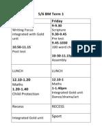 56bm term 1 timetable