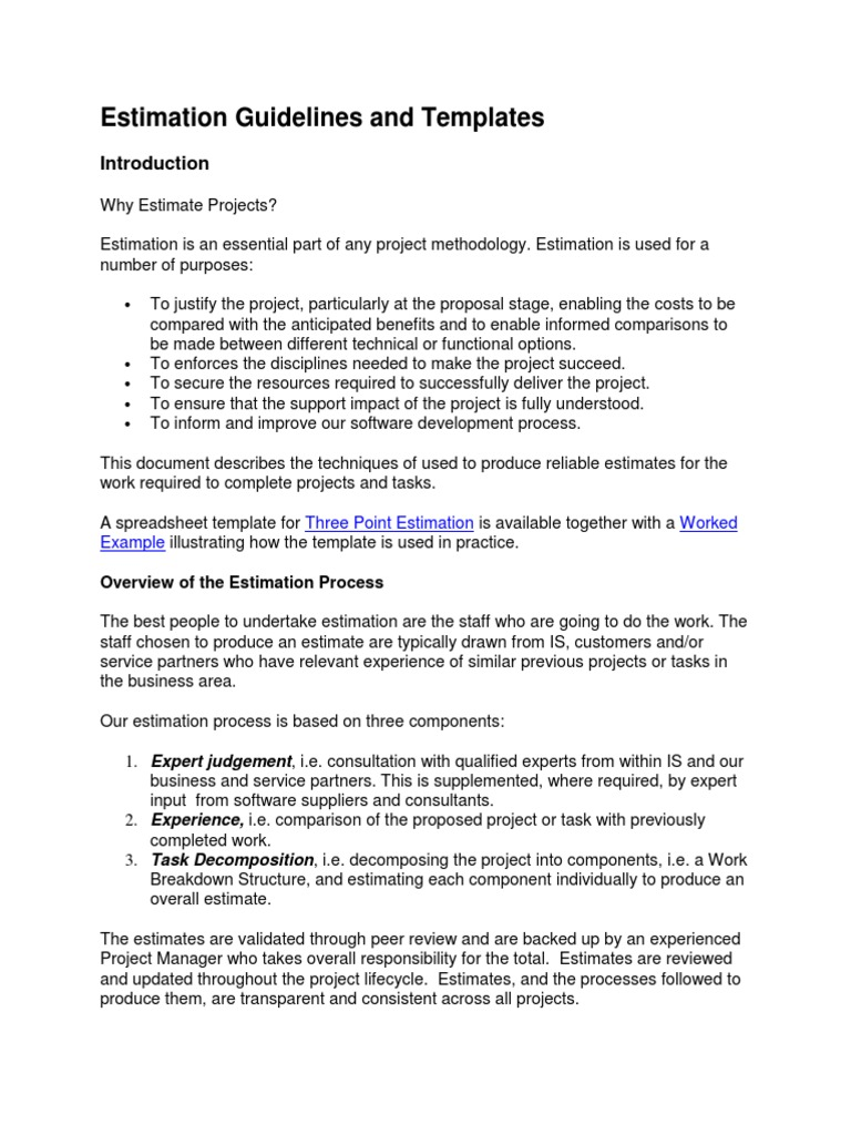 Estimation Guidelines and Templates   Standard Deviation   Project ...