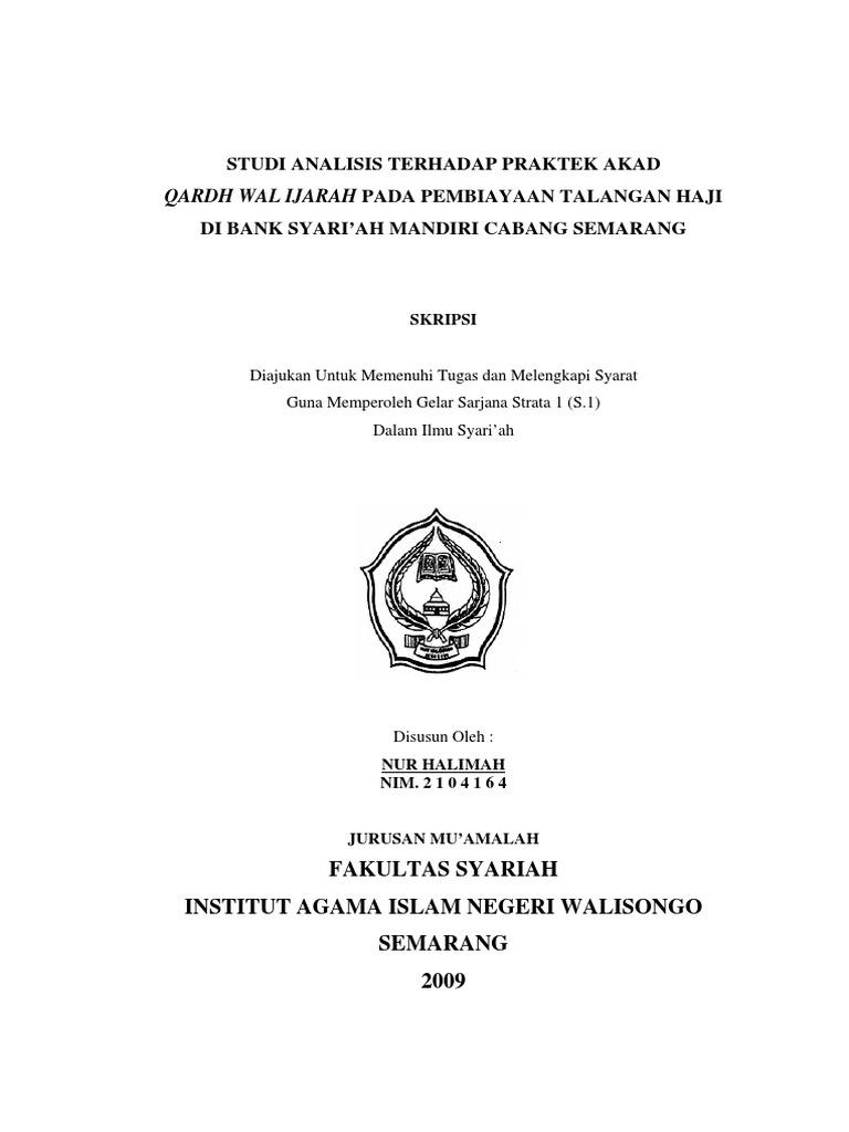 Skripsi Hukum Ekonomi Syariah Tentang Sewa Menyewa