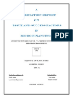 Dissertation Report on Issue and Success Factors in Micro Financing