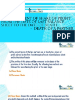 Ascertainment of Share of Profit from the Date of Last Balance sheet to the Date of Death – Death of a Partner