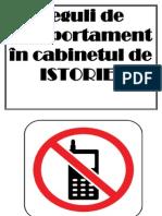 Reguli de Comportament in Cabinetul de Istorie