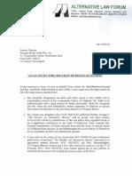 Alternative Law Forum Notice to Penguin