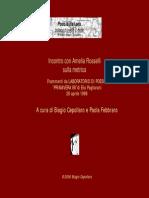Incontro Con Amelia Rosselli Sulla Metrica
