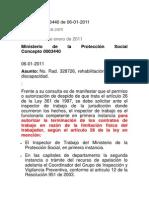Concepto 0003440 de 06 Ministerio de Trabajo-Incapacidad