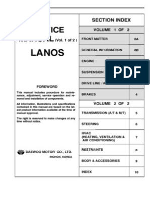 Daewoo Lanos Service Manual Full Eng Motor Oil Automatic Transmission