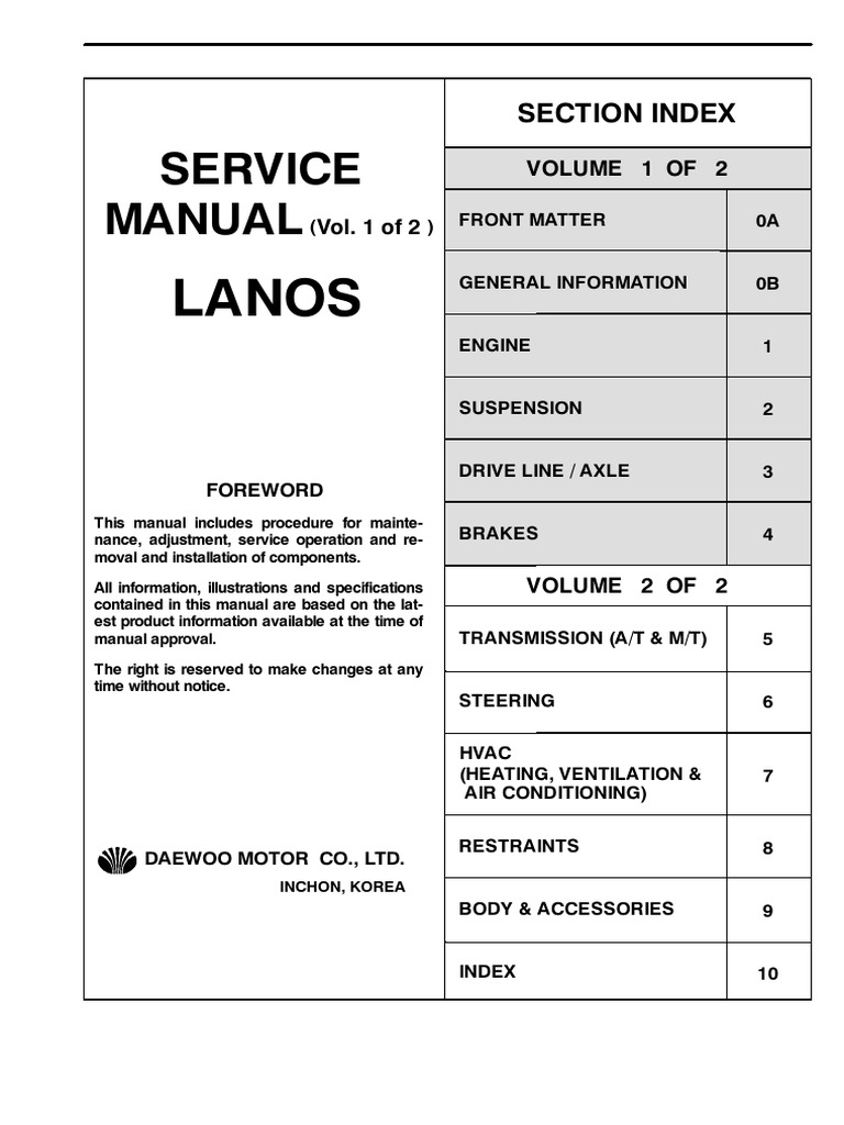 Daewoo Lanos Service Manual Full Eng | Motor Oil | Leak