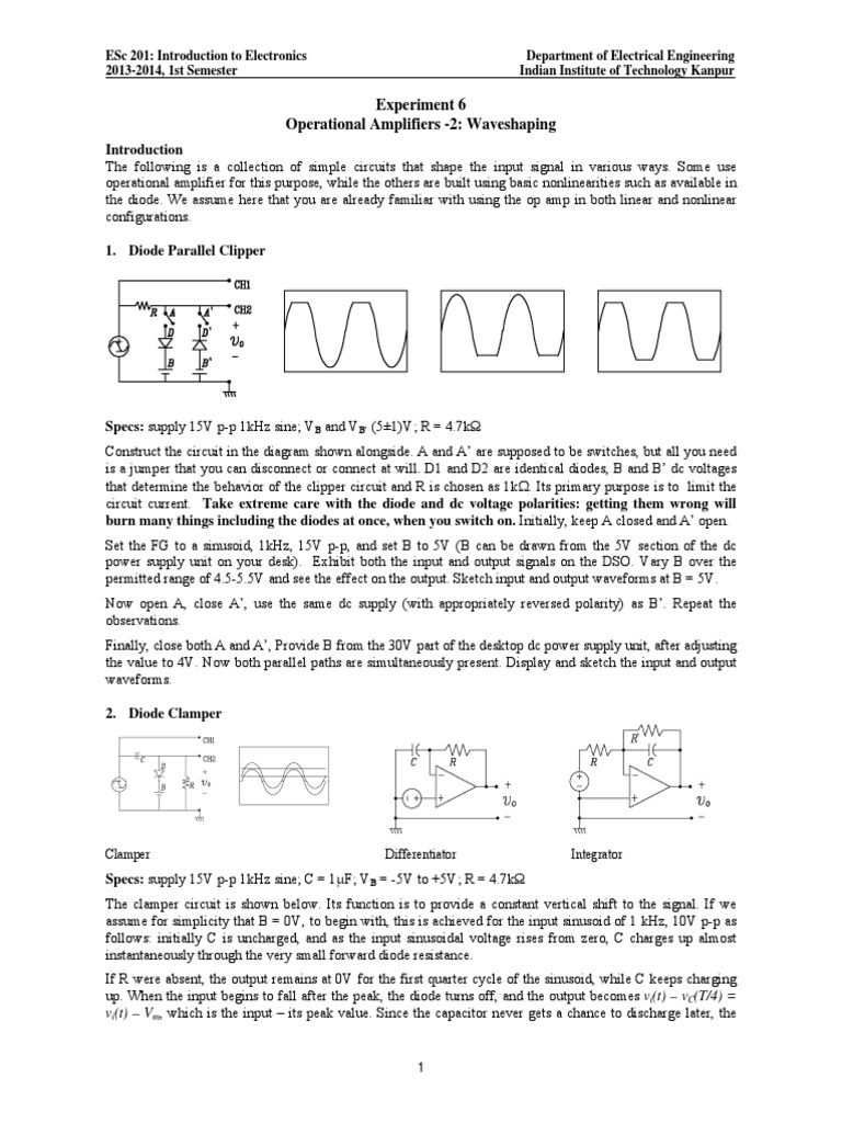 Lab6 2013 Operational Amplifier Basics Electrical Engineering