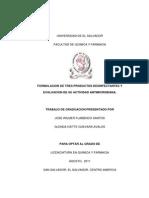 Formulacion de Tres Productos Desinfectantes y Evaluacion de Su Actividad Antimicrobiana