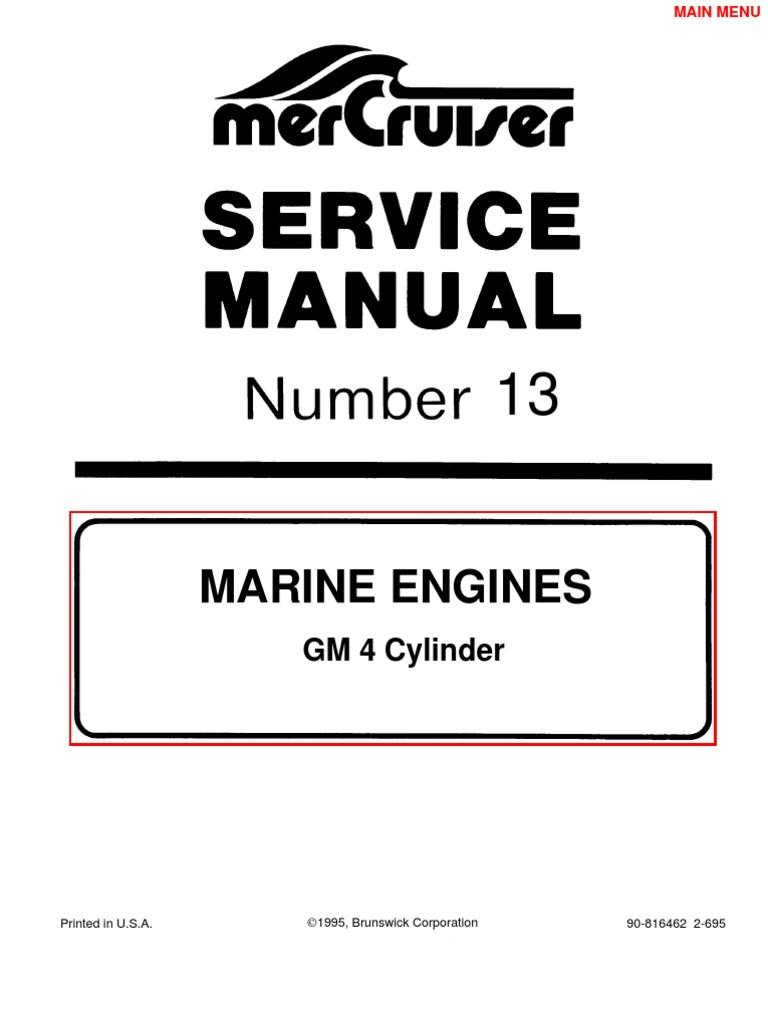 Mercruiser Manual GM 4 Cylinder | Gasoline | Ethanol