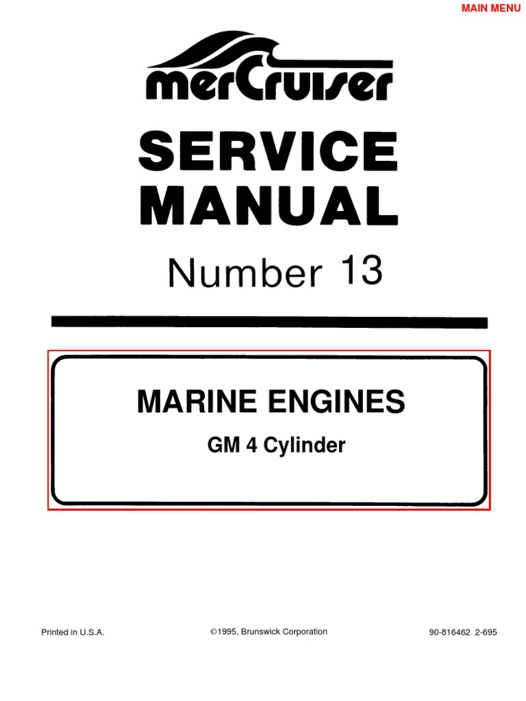 mercruiser manual gm 4 cylinder gasoline ethanol rh scribd com Mercruiser 140 Measure 140 Mercruiser Engine Specs