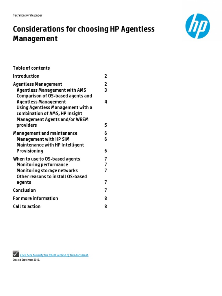 Considerations for Choosing HP Agentless Management