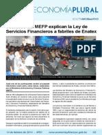 Economía plural:Técnicos del MEFP explican la Ley de Servicios Financieros a fabriles de Enatex
