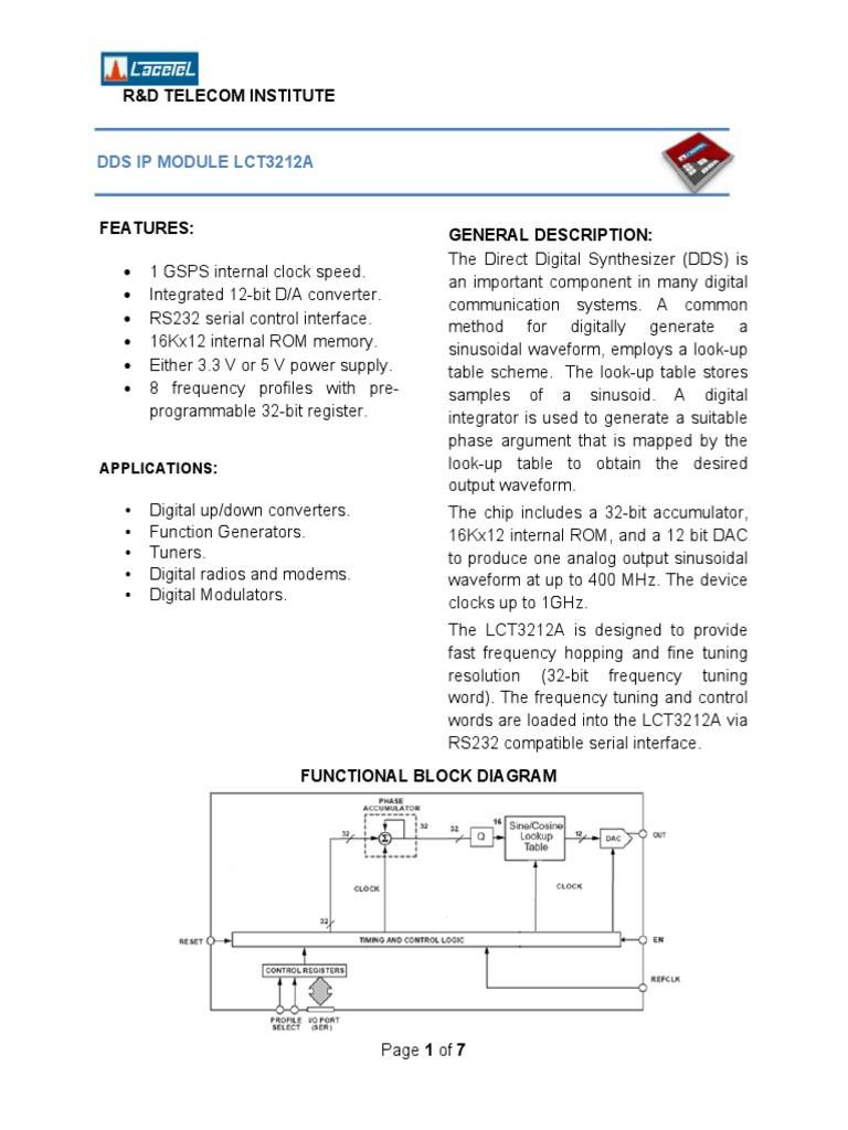 Lct3212a Datasheet Modulation Digital To Analog Converter Block Diagram Of Function Generator