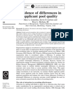 Differences In applicant pool quality