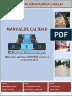 Manual de Calidad Ryd Contrucciones Sas