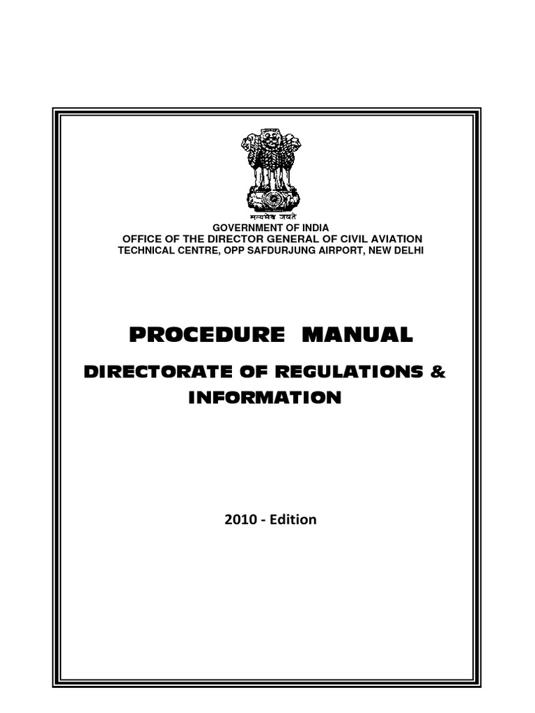Procedure Manual for Regulation and Information