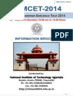 NIMCET 2014 Information Brochure