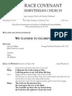 Worship Bulletin February 16, 2014