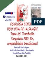 Transfusion sanguínea fisiología UJI 2012