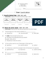 Science Exam-Scientific Method