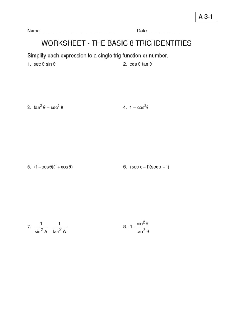 Microsoft Word A 31 Basic 8 Trig Identities – Trig Identities Worksheet
