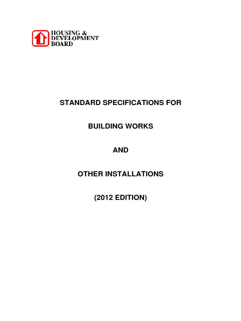 Standard Specifications For Building Works And Other Installations