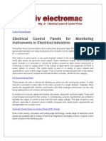 Electrical Control Panels for Monitoring Instruments in Electrical Industries