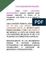 CATÁLOGO DE CANCIONES EN FRANCÉS