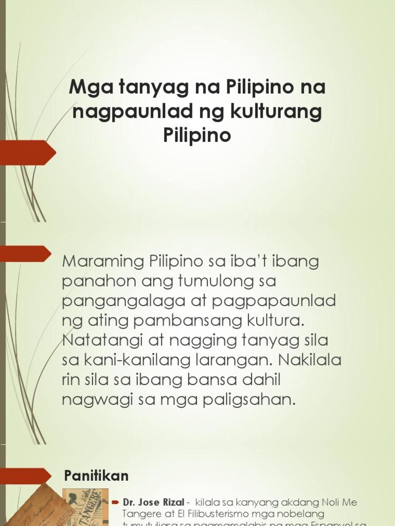 mga tanyag na pilipino na nagpaunlad ng kulturang