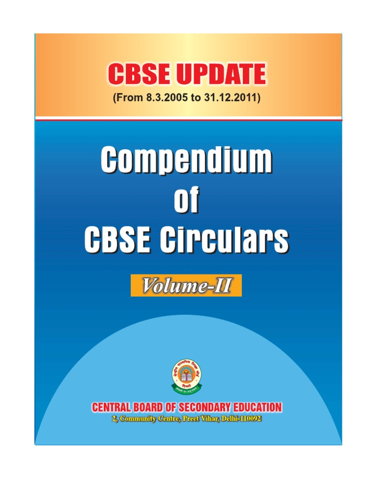 CBSE Update(Compendium of CBSE Circulars)Vol-II | Secondary School ...