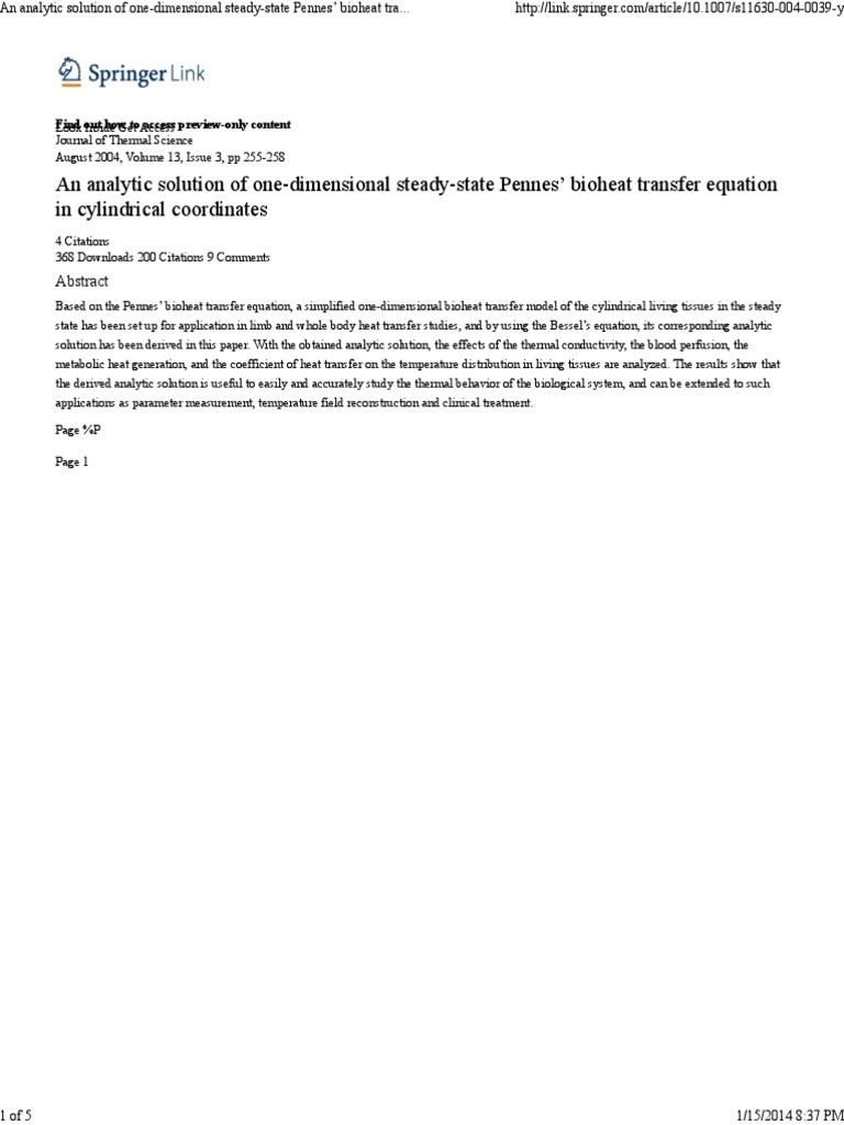 Bioheat transfer simulation dating