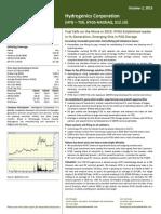 Hydrogenics corporation equity analysis stock symbol - HYGS:NASDAQ