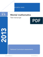 Ks2 Mathematics 2013 Mental Maths Transcript
