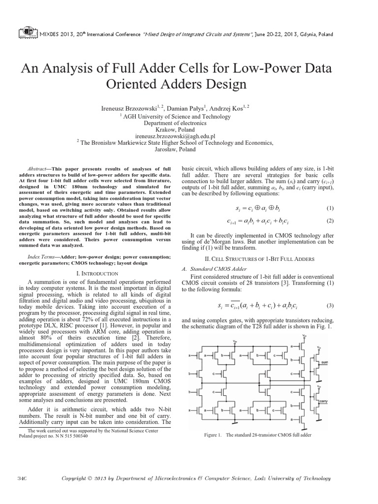 An Analysis Of Full Adder Cells For Low Power Data Oriented Adders Top Level Block Diagram The Design Cmos Electrical Circuits