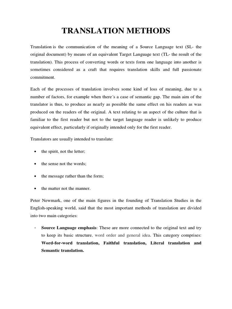 Chapter 5 - Translation Methods   Translations   Idiom