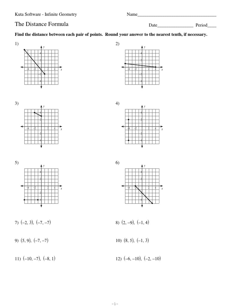 3The Distance Formula – Kuta Geometry Worksheets