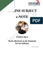 FNSINC301A - (E-Note) (Cert III in Accounts Admin)