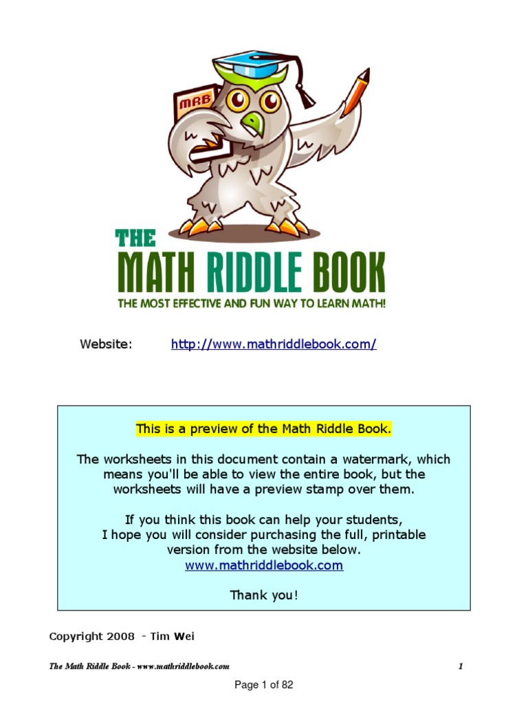 Math Riddle Book | Division (Mathematics) | Subtraction